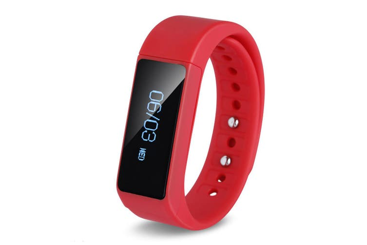 Smart Bracelet Watch Fitness Band Pedometer For Iphone Ios Android Navy Red