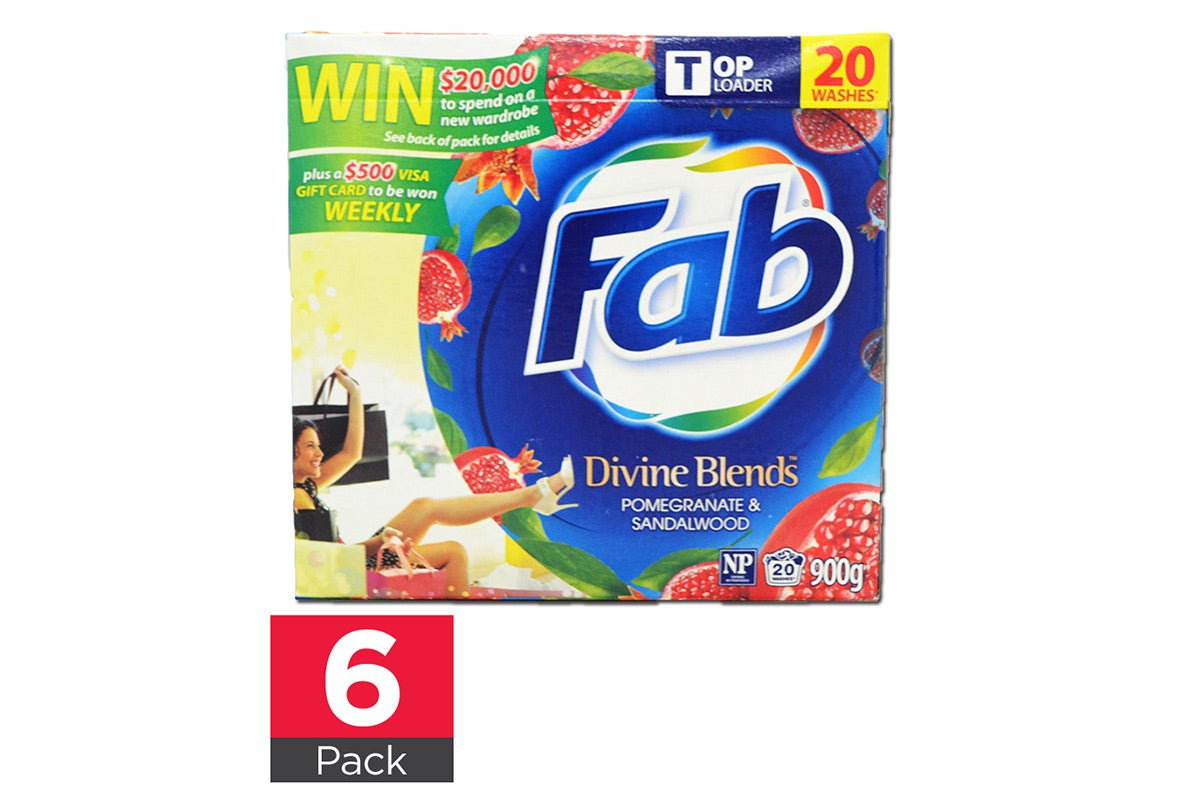 6x Fab Laundry Powder 900g Top Loader Divine Blends Pomegranate&Sandalwood