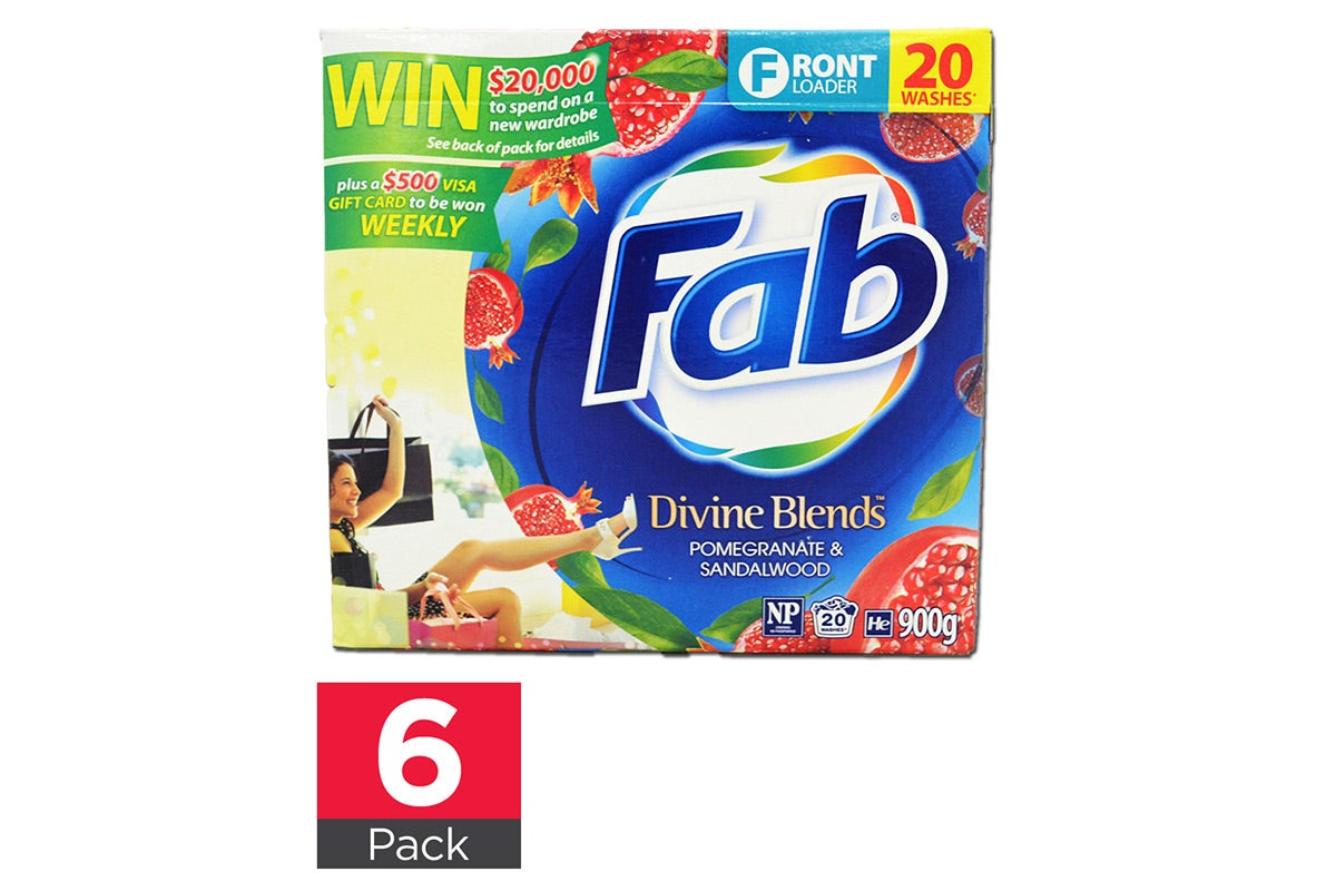 6x Fab Laundry Powder 900g Front Loader Divine Blends Pomegranate&Sandalwood