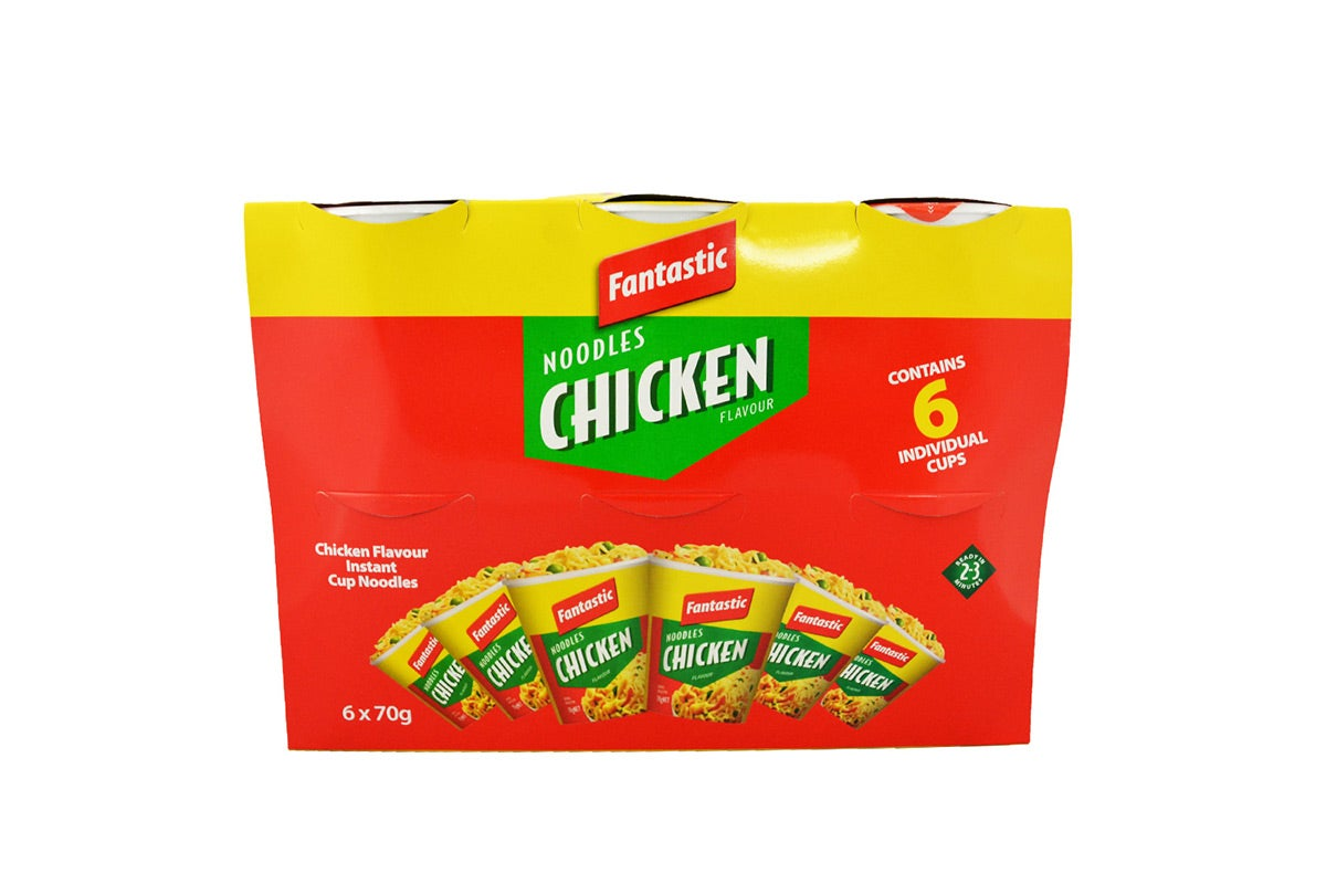 6x Fantastic Noodles Chicken Cup 70g each