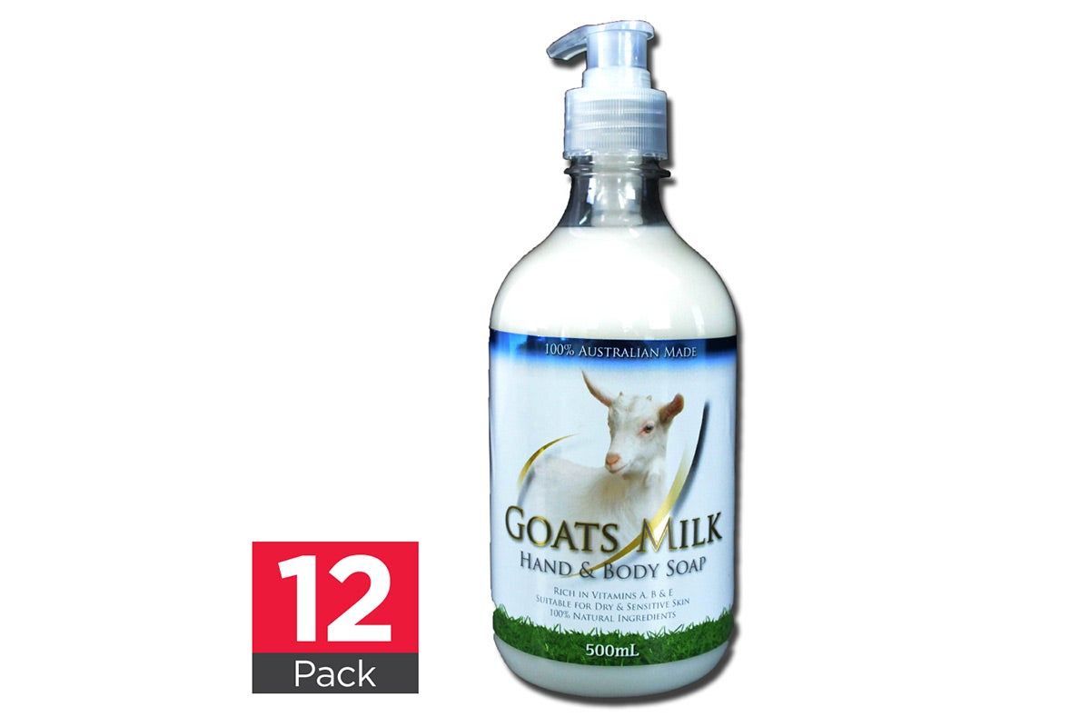 12x Goats Milk Hand & Body Soap 500mL