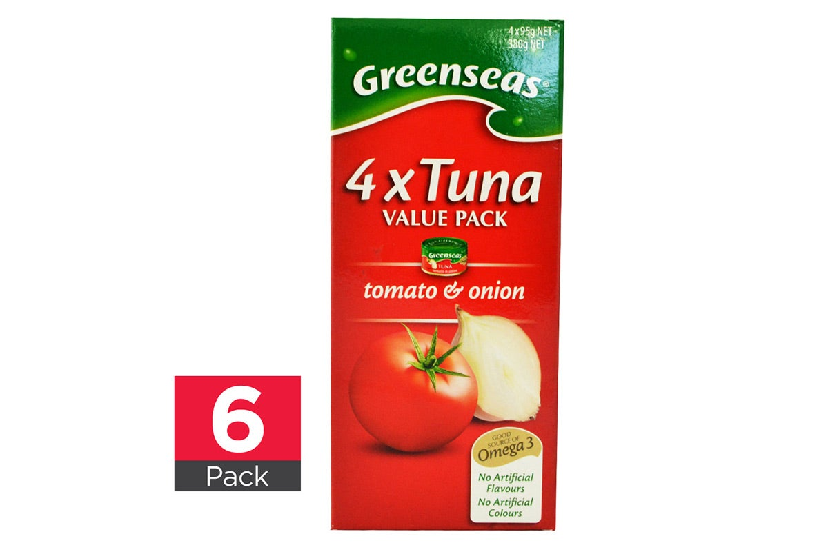 6x Greenseas Tuna Tomato & Onion 4 pack each 95g
