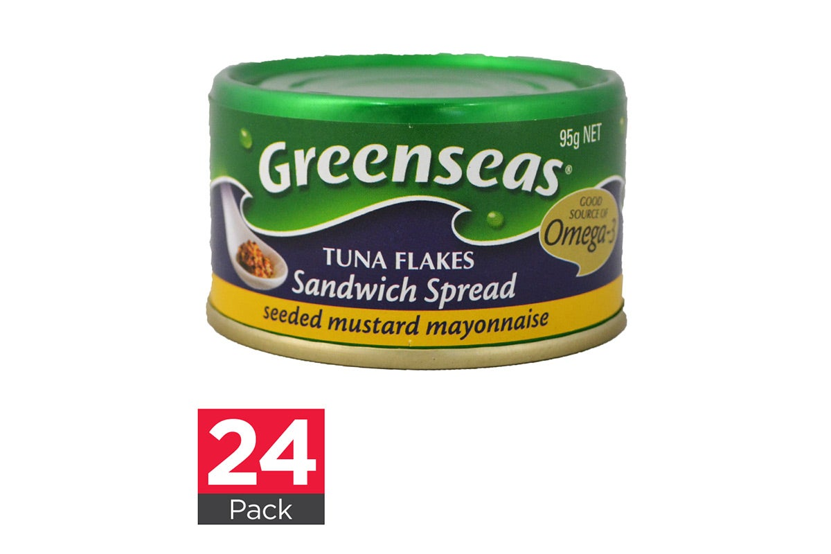 24x Greenseas Tuna Flakes Sandwich Spread Seeded Mustard Mayonnaise 95g