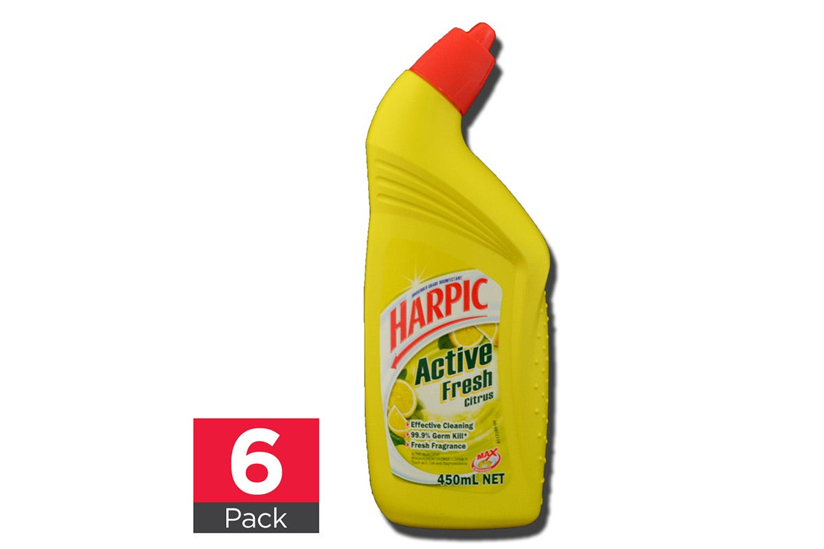 6x Harpic Toilet Cleaner Active Fresh Citrus 450mL
