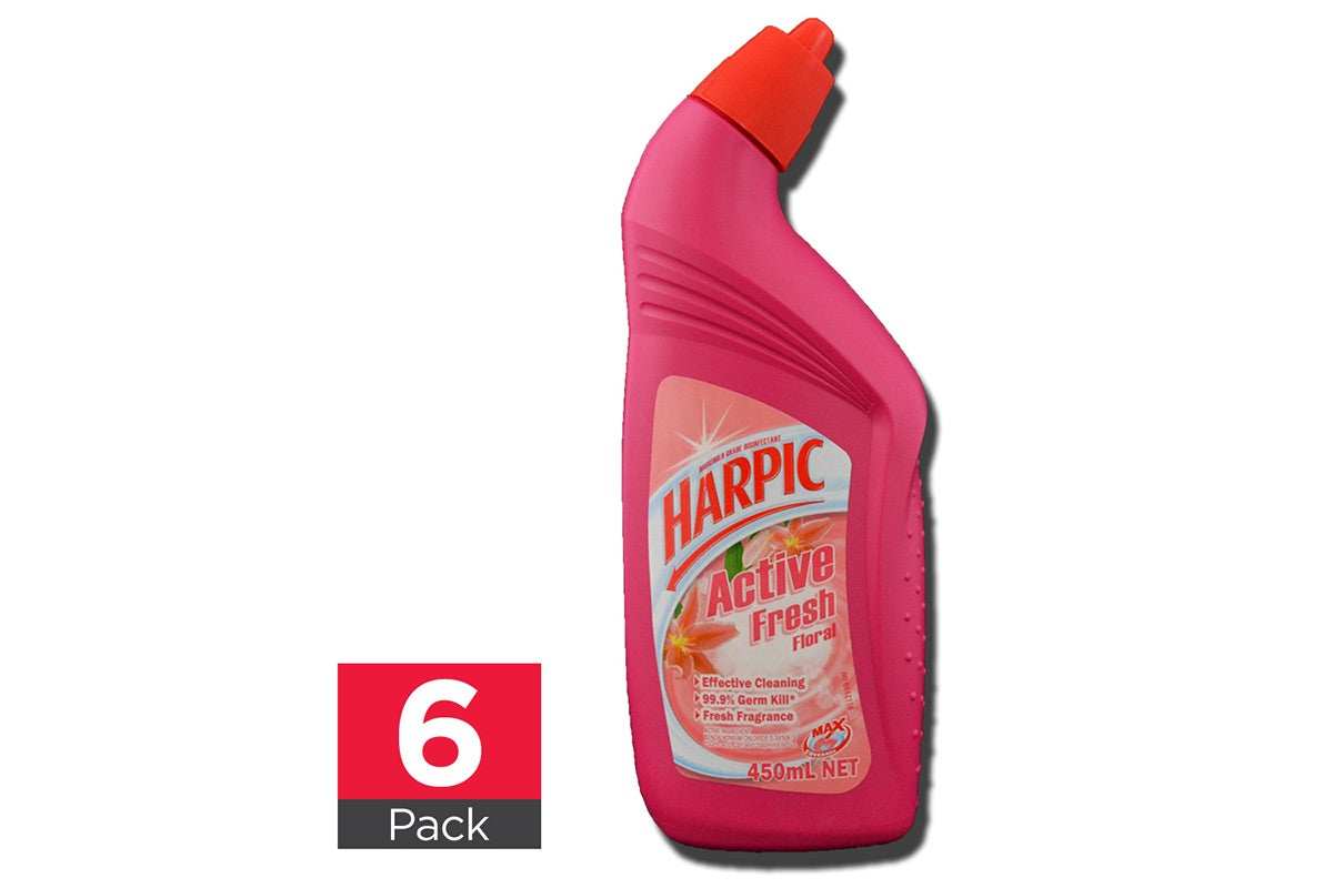 6x Harpic Toilet Cleaner Active Fresh Floral 450mL