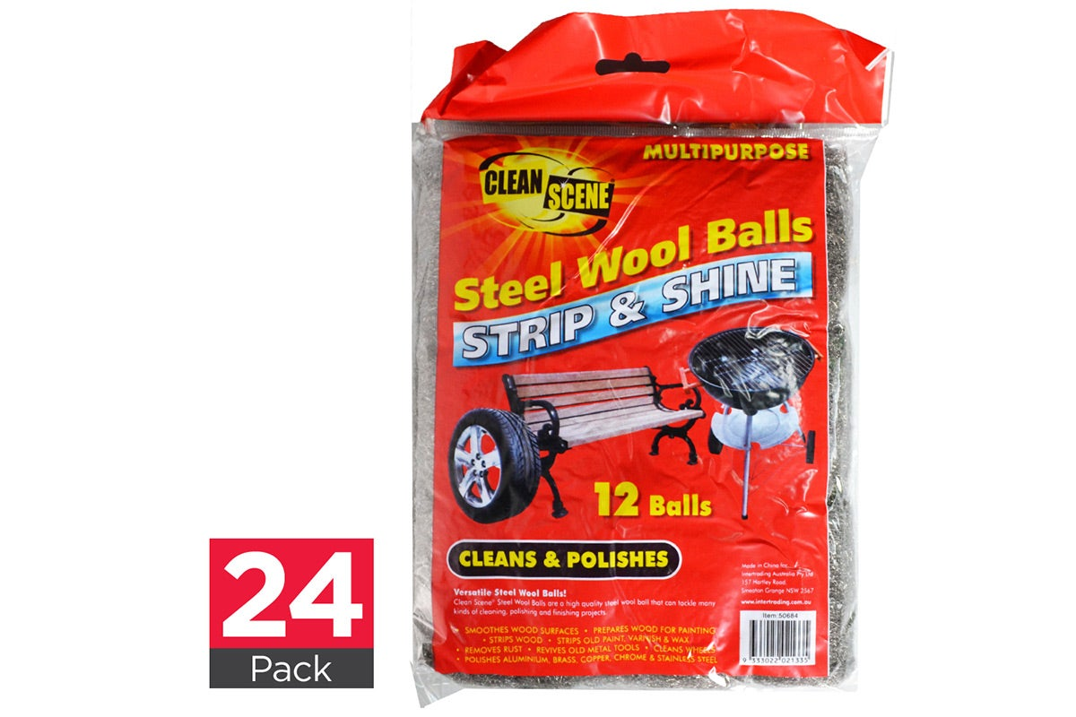 24x Clean Scene Steel Wool Balls 12pk