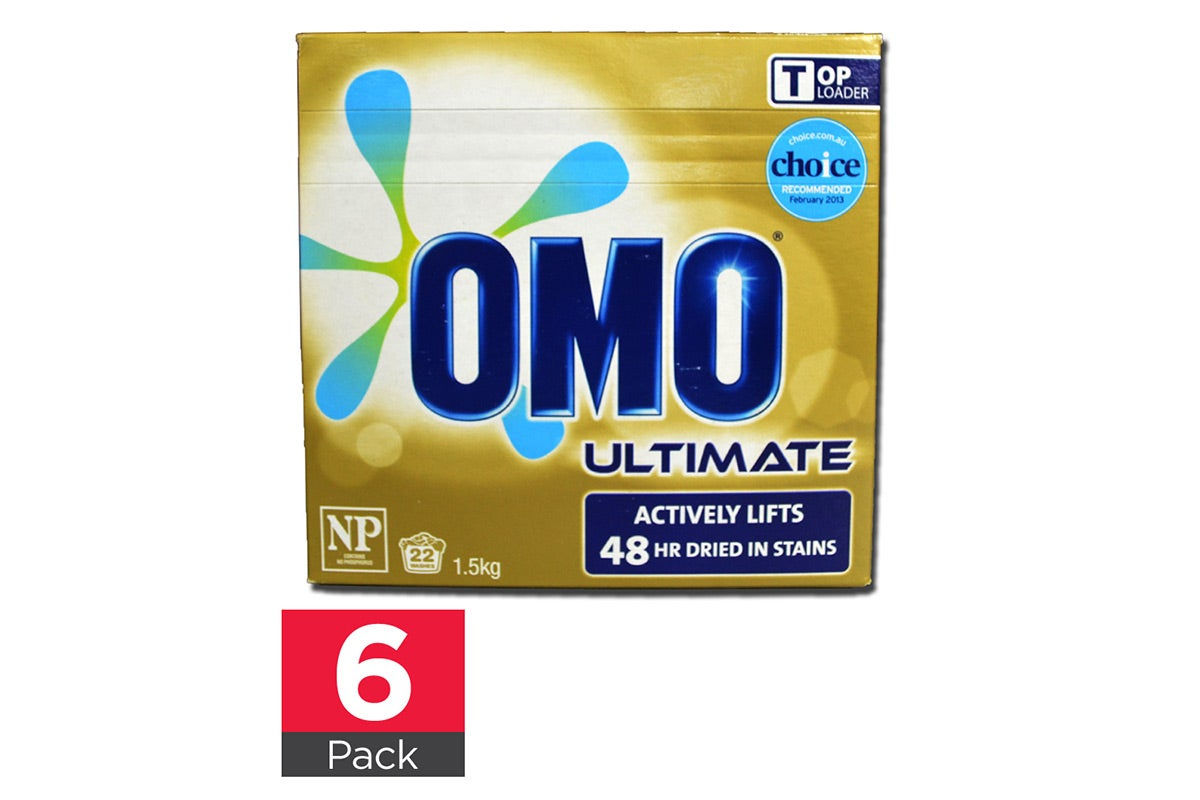 6x Omo 1.5kg Laundry Powder Top Loader Ultimate