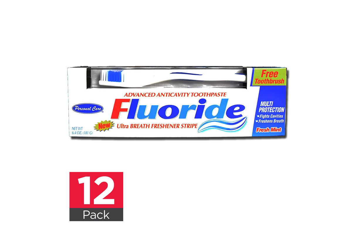 12x Personal Care Toothpaste Fluoride with Toothbrush 181g