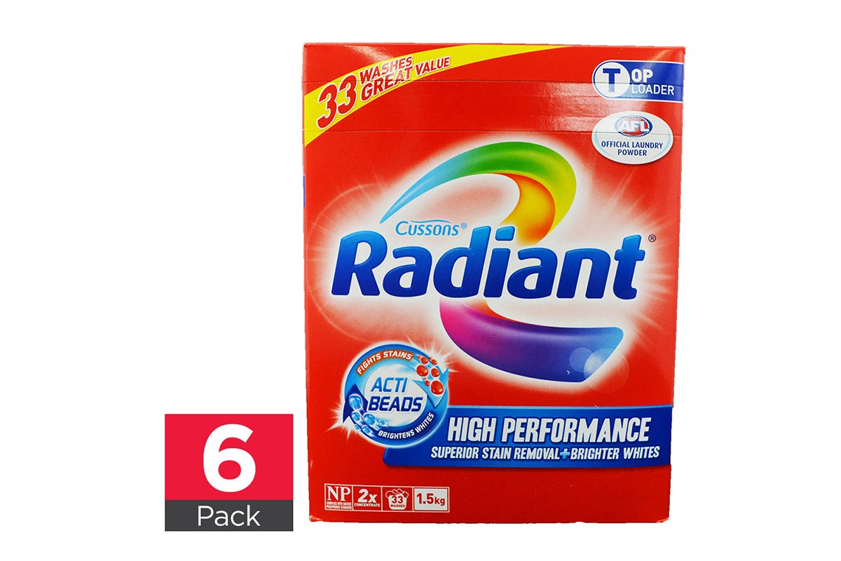 6x Radiant Laundry Powder High Performance Top Loader 1.5kg