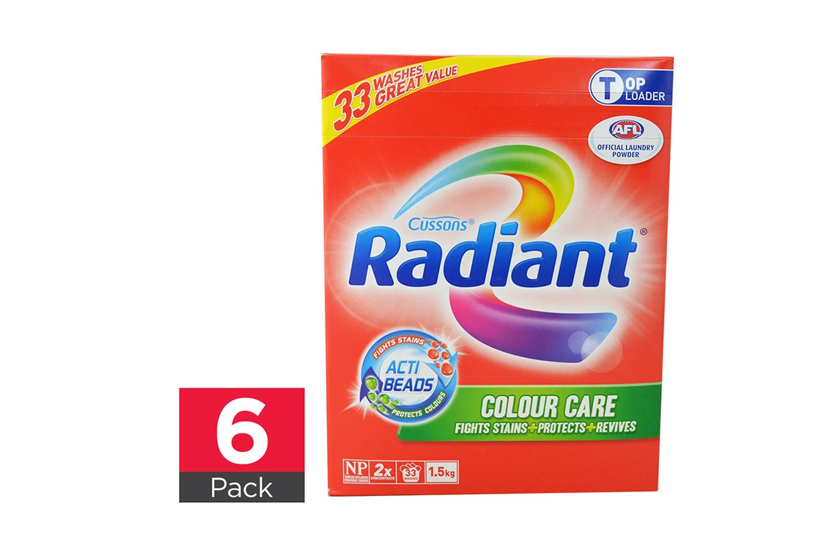 6x Radiant Laundry Powder Colour Care Top Loader 1.5kg