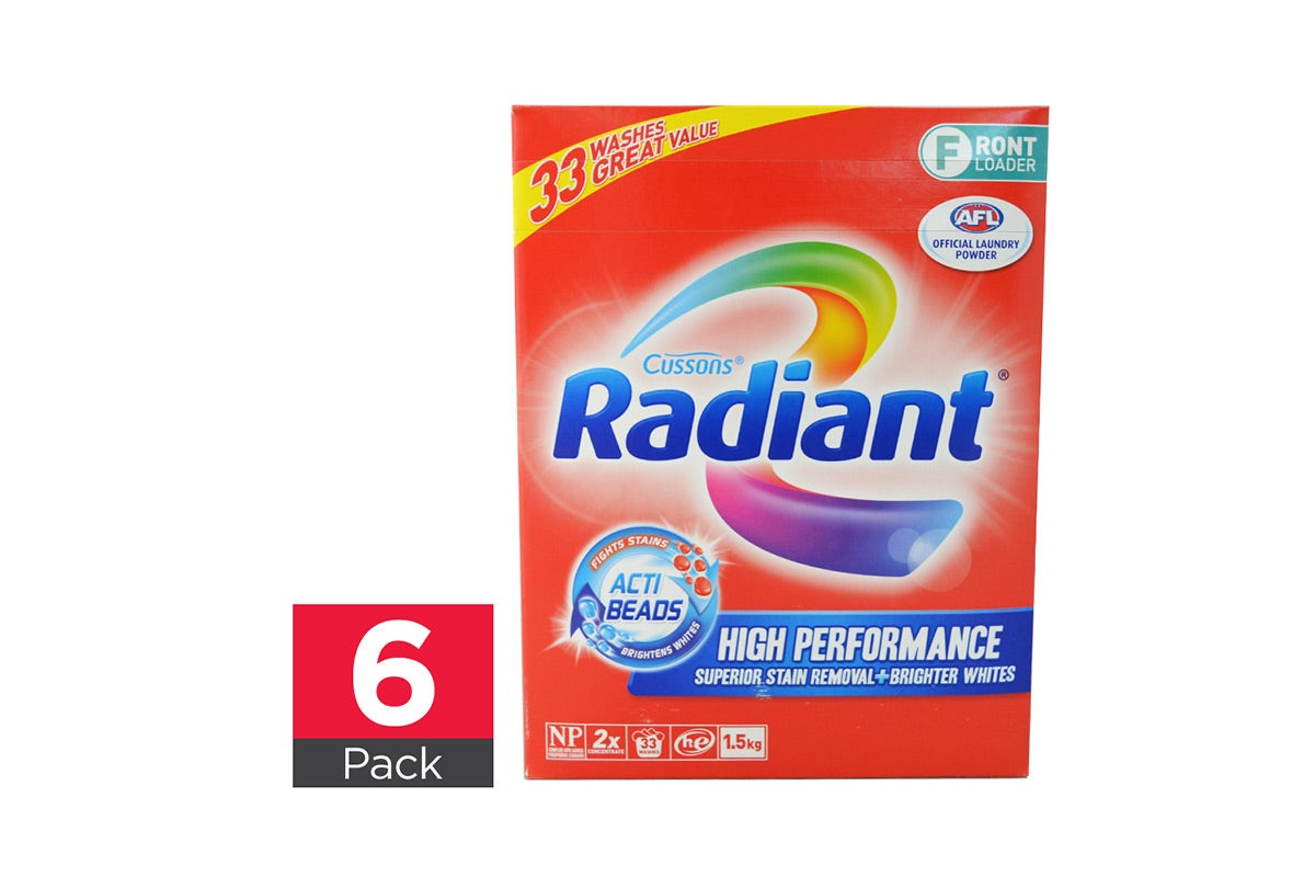 6x Radiant Laundry Powder High Performance Front Loader 1.5kg
