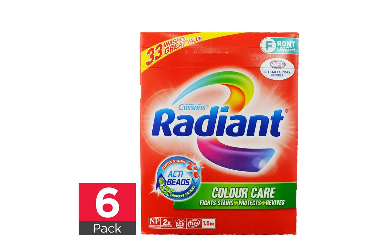 6x Radiant Laundry Powder Colour Care Front Loader 1.5kg
