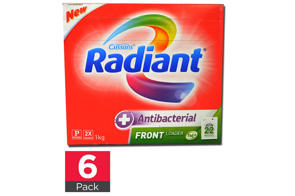 6x Radiant 1kg Laundry Powder Antibacterial Front Loader