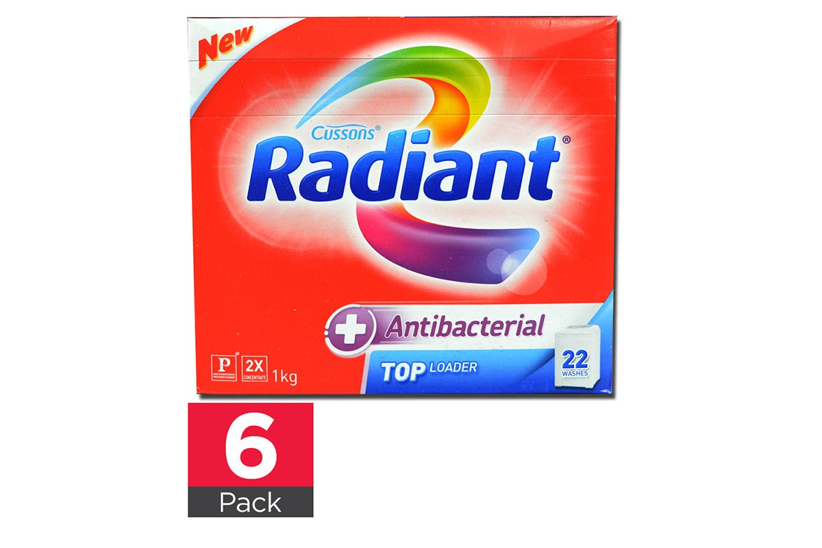 6x Radiant 1kg Laundry Powder Antibacterial Top Loader