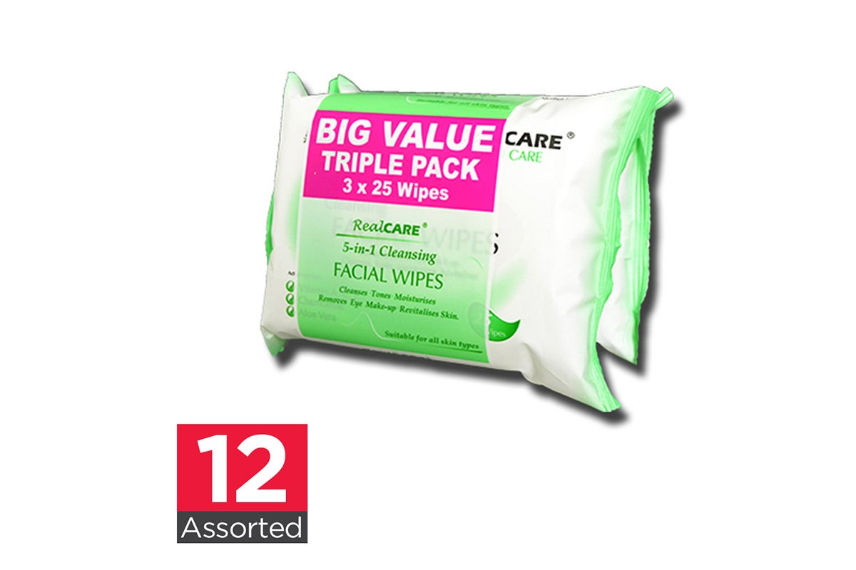 12x Real Care  Assorted Facial Cleansing Wipes 25pk