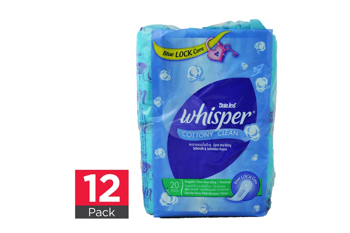 12x Whisper Regular Flow Non Wing 20pk