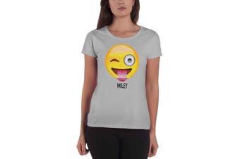 Emoji Icon t shirt parody funny emotion Winking Miley Womens Skinny Fit Grey