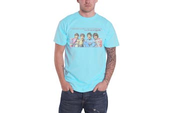 The Beatles T Shirt Sgt Pepper Lonely Hearts LP Here Now Official Mens New Blue