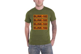 Blink 182 T Shirt Band Logo Repeat new Official Mens Military Green