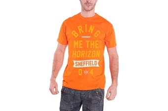 Bring Me The Horizon Mens T Shirt Orange Big Text band logo Official