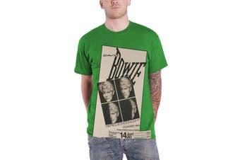 David Bowie T Shirt Serious Moonlight Concert 1983 new Official Mens Green