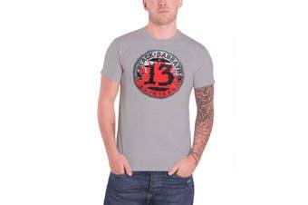 Black Sabbath Mens T Shirt Grey 13 Flame Circle band logo Official