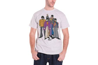 The Beatles T Shirt Yellow Submarine Cartoon Band Logo Official Mens New Grey