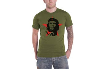 Che Guevara T Shirt Military Portrait Cuban Revolution new Official Mens Green