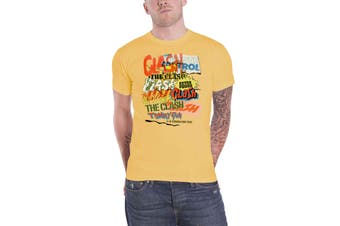 The Clash T Shirt Singles Collage Text Band Logo new Official Mens Yellow