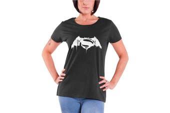 Official Batman T Shirt Beaten Logo Womens New Charcoal Skinny Fit