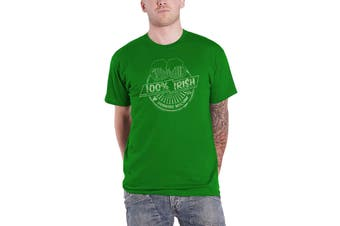 Mens St Patricks Day T Shirt 100% Irish Drinking Machine Distressed New Green