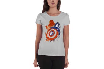 Official Womens Captain America T Shirt Painted Shield Logo New Grey Skinny Fit