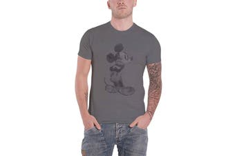 Mickey Mouse T Shirt Vintage Sketch Logo new Official Disney Mens Grey