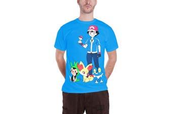 Pokemon T Shirt mens Ash Ketchum new Official  game boy Blue