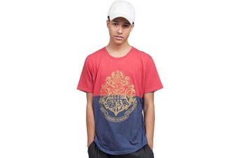 Harry Potter T Shirt Block Crest Red Blue new Official Mens Unisex