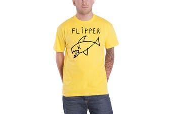 Flipper T Shirt Band Logo new Official Mens Yellow