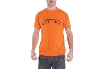 DC Originals Aquaman T Shirt Distressed Logo Official Mens New Orange