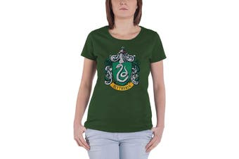 Harry Potter T Shirt Slytherin crest new Official Womens Skinny Fit Green