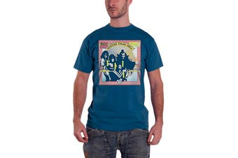 Kiss T Shirt Hotter Than Hell band logo Official Mens New Blue