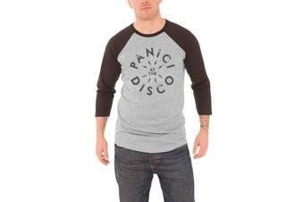 Panic At The Disco T Shirt Mens panic! Band logo bolt Official Baseball Shirt