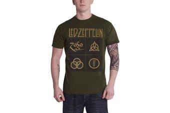 Led Zeppelin T Shirt Gold Symbols In Black Squares new Official Mens Green