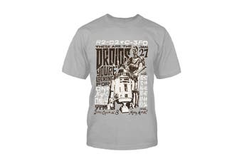Official Kids Star Wars T Shirt R2D2 and C3PO Rock Poster Logo new Mens Grey