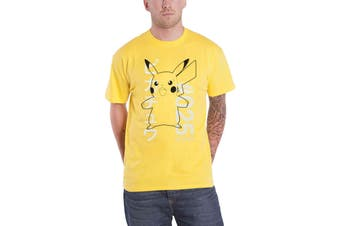 Pokemon T Shirt Shocked Pika # 025 Logo new Official Mens Yellow