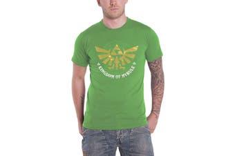 Zelda T Shirt Golden Kingdom of Hyrule Logo new Official Mens Green