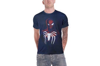 Spiderman T Shirt Portrait Logo Acid Wash new Official Mens Blue