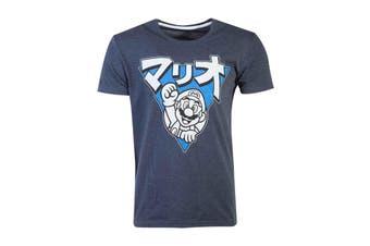 Super Mario T Shirt Japanese Logo Triangle new Official Mens Blue