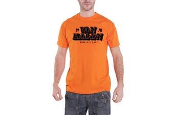 Van Halen T Shirt World Tour 1978 Band Logo new Official Mens Orange