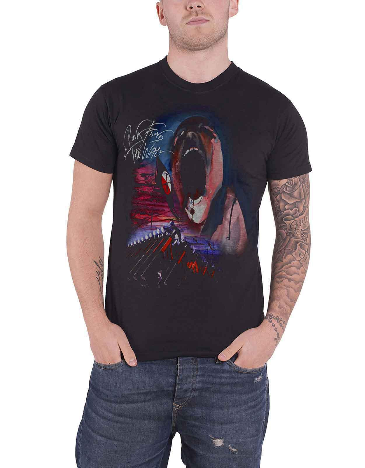 Pink Floyd T Shirt The Wall Scream and Hammers logo new Official Mens Black Size