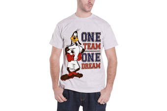 Goofy T Shirt Disney One Team One Dream Logo Official Mens New Heather Grey