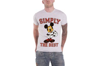 Official Mens Mickey Mouse T Shirt Simply The Best Football Logo Heather Grey